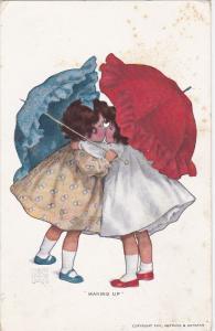 Making upr , Artist Bessie Collins Peese, PU-1908 : Girls with umbrellas