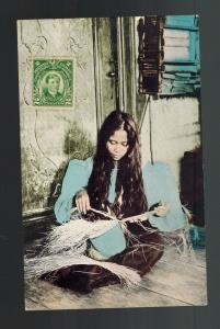 1910s Philippines PPC Postcard Cover Woman Weaving Hats Manila
