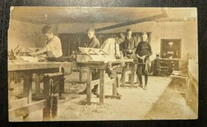 Vintage Young Men in Wood Working Shop Torn Corner Real Photo Postcard RPPC