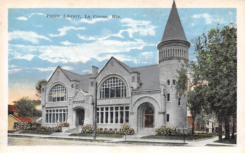 La Crosse Wisconsin~Big Turret on Library Corner~1920s Postcard