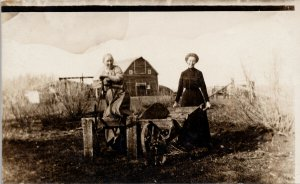 Two Women Farmers Farming Barn Wheelbarough Farm Unused Real Photo Postcard G52