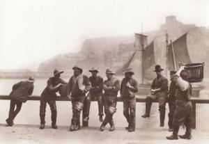 Victorian Fisherman at Harbour Rail Whitby Yorkshire Postcard