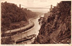 Clifton Suspension Bridge from Leigh Woods, ship, pont bruecke 1938