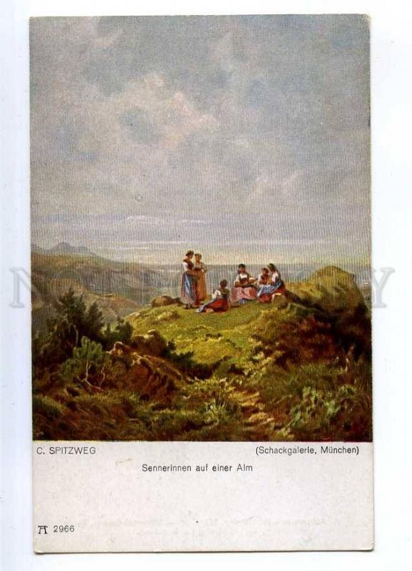 187815 Dairymaids on summer pasture by SPITZWEG Vintage PC