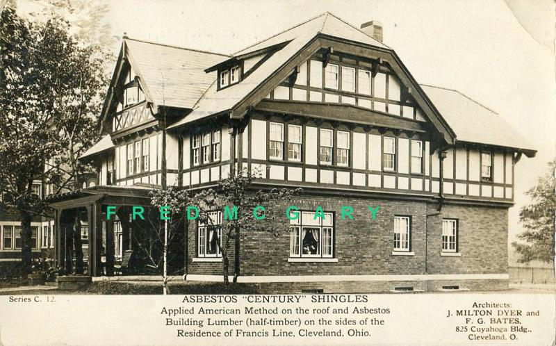 1912 Ambler Pennsylvania Real Photo Postcard: Asbestos Shingles Advertising