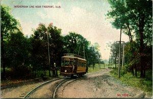 Vtg Postcard c 1908 Freeport Ill Interurban Line Trolly