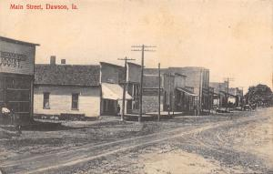 Dawson Iowa~Dirt Main St~Druggist Shannon~Bank of Dawson~Harness? Shop 1913