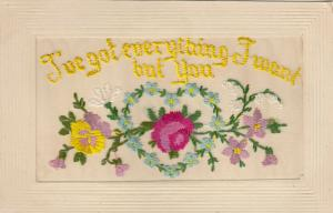 Hand Sewn, 1900-10s; I've got everthing I want but you, heart of flowers