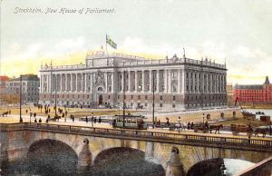 Sweden Old Vintage Antique Post Card New House of Parliament Stockholm Unused