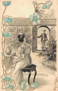 Art Nouveau Embossed Romantic Couple Postcard 05.88
