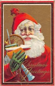 D71/ Santa Claus Merry Christmas Holiday Postcard 213B Green Gloves Tennis 2