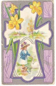Easter Greetings, Cross With A Interior Picturesque Of A Girl Feeding A Swan,...