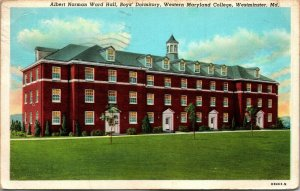 Albert Norman Ward Hall, Western MD College, Westminster. Md. Postcard PC