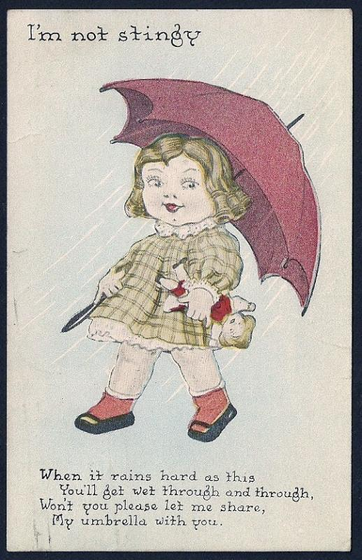 I'm Not Stingy . . . Girl with Umbrella used c1918