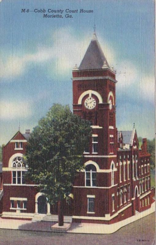 Georgia Marietta Cobb County Court House 1947 Curteich