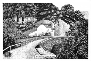 North Yorkshire Art Postcard, Beckhole, Goathland by Douglas Reay GE4
