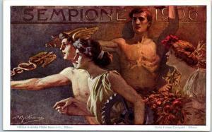 1906 MILANO Italy International Expo Postcard POSTER ART Artist-Signed w/ Cancel