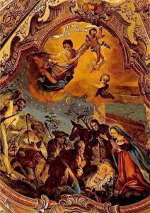 Geburt Christi aus dem Deckengemaelde von Michael Schmutzer, Zell am Ziller