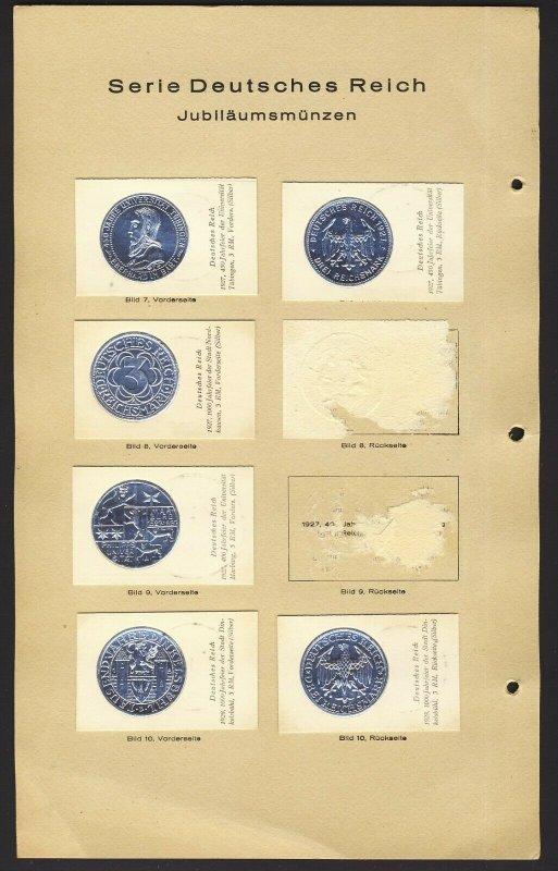 39x Germany Variety Coin Card on pages Serie Deutsches Reich Jubilaumsmunzen