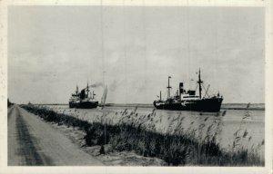 Egypt Crossing of two Vessels Egypt Suez RPPC 05.47