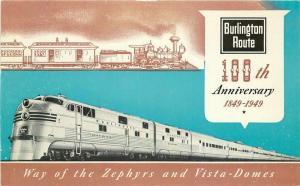 Advertising Burlington Railroad Steamliner Postcard Zephyrs Vista Domes 3587