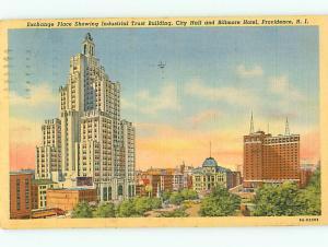 Vintage Post Card Exchange Place Trust Bldg Biltmore Hotel Providen  R I  # 4111