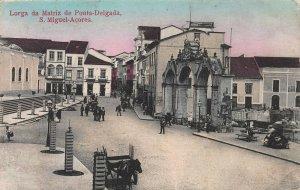 Matriz Church, Ponta Delgada, Sao Miguel, Azores, 1911 hand colored postcard