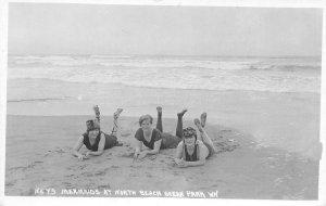 RPPC Mermaids At North Beach OCEAN PARK, WA Vintage Bathing Suits 1910s Postcard