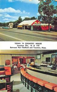 1958 Taunton MA Town 'N Country House Restaurant Duo-View Postcard