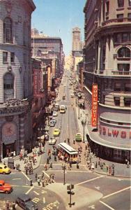 San Francisco California~Powell Street @ Market~Woolworths~Bank Clock~1950s Pc