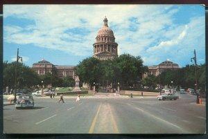 Congress Avenue street view old cars Austin Texas tx old chrome Postcard #7