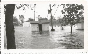 Utility Shed under Water from Epic Flood Flooded Streets Homes Real Photograph