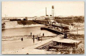 Brainerd Minnesota~Paper & Pulp Mill~Docks~Railroad Cars~Water Tower~1912 RPPC
