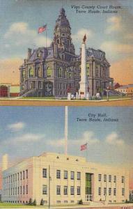 Two Views, Vigo Country Court House, City Hall, Terre Haute, Indiana, 30-40s