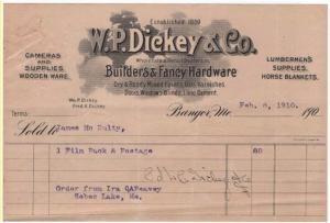 1910 Billhead, W. P. DICKEY & CO., Builders & Fancy Hardw...