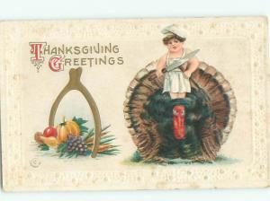 Pre-Linen Thanksgiving BOY WITH LARGE KNIFE STANDING ON TURKEY AB4440