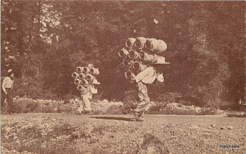 1937 MEXICO Natives carrying Large pots postcard 198