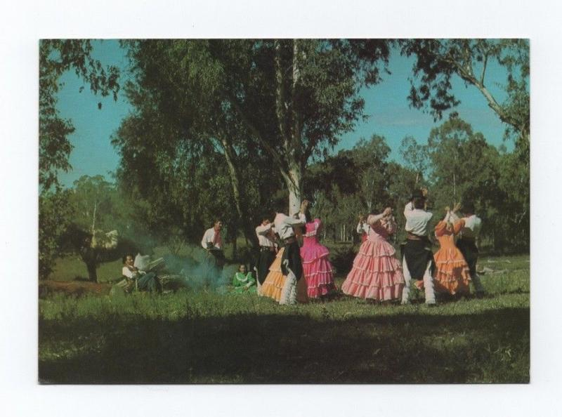 Pcard airline issued TRANS BRASIL 1970s BRAZIL GAUCHOS FOLK FOLKLORE DANCES xx