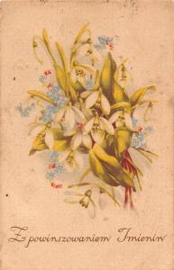 Postcard Z Powinszowaniem Imienin, Flowers Fleurs