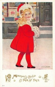Monday's Child is Fair of Face Artist Signed Postcard