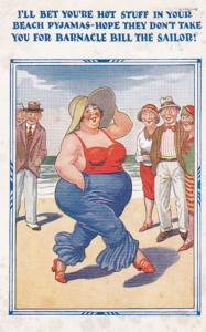 PIN-UP Comic ; 20-30s ; Heavy set woman strolling on beach