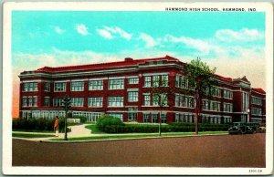 Hammond, Indiana Postcard HAMMOND HIGH SCHOOL Street View Curteich c1930s