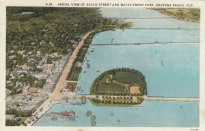 DAYTONA BEACH, Florida, 1900-10s; Aerial View of Beach Street & Water Front Park