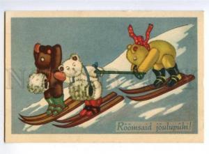 3161291 Dressed TEDDY BEAR Skiing Vintage colorful PC