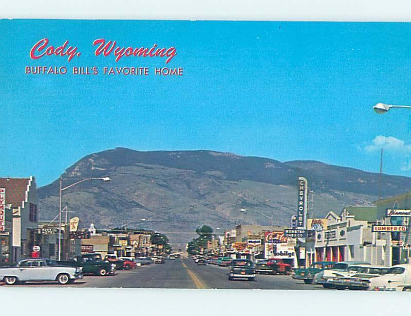 Unused Pre-1980 SHOPS ALONG STREET Cody Wyoming WY G4654