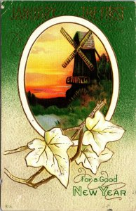 For A Good New Year - Winter Scene - Windmill - Vintage - POSTCARD PC