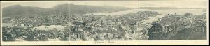 norway norge, BERGEN, Triple 3x Panorama Postcard (1899)