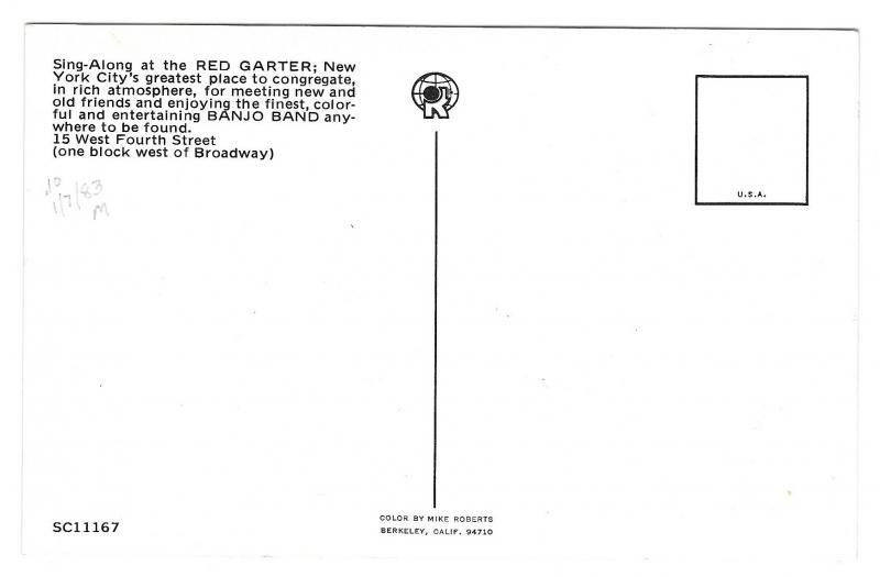 NY Red Garter Pub Banjo Band Night Club Advertising Postcard