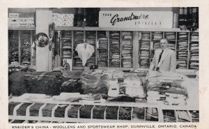 DUNNVILLE, Ontario, Canada, 30-50; Kneider's China, Woollens And Sportswear Shop