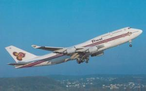 Boeing 747-4D7 HS-TGO Plane of Thai Airways at Zurich Swiss Airport Postcard